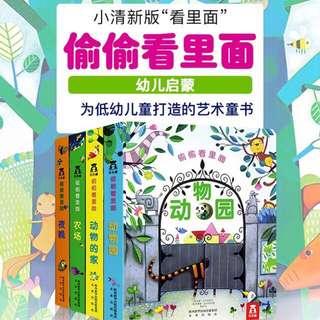Usborne look inside Chinese version 乐乐趣偷偷看里面第一辑4册翻翻书