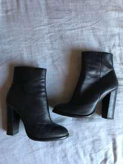 Leather heel boots