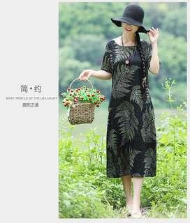 Leafy Print Midi Swing Dress 102791 JPN