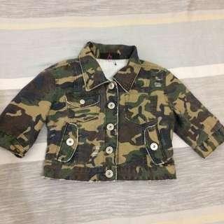cropped denim camouflage jacket