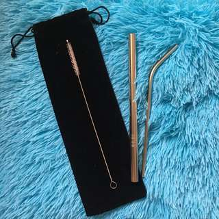 Metal/Steel Straw Set (Silver)
