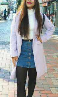 Pale purple button down coat