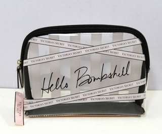 VICTORIA'S SECRET ''Hello Bombshell''Clear Cosmetic Case Bag-BLACK