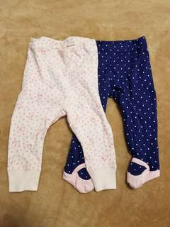 Carters and gunze leggins 0-3 months.
