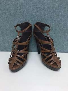 Hermes multi strap heels Sz 36.5