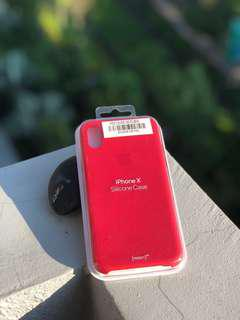 Authentic iPhone X Silicon Case ( Red )