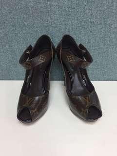 LV monogram Open Toe Heels Sz 36