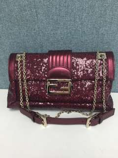 Fendi red beaded baguette bag