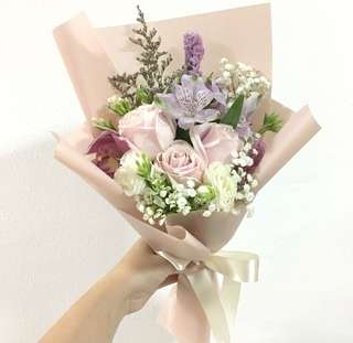 Pink Roses with Baby Breath and Mix Flowers / Graduation Bouquet / Birthday Bouquet