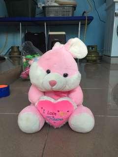 boneka kelinci pink ( tinggi +/- 40cm posisi duduk sampai telinga )