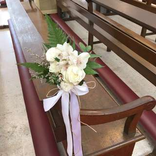 Church Pews in White Theme / Roses with Eustomas Alstromeria and Rustic Leaves