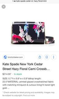 KATE SPADE Hazy Floral Cami Cross Body Bag