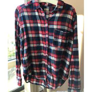 Hollister plaid blouse, size M