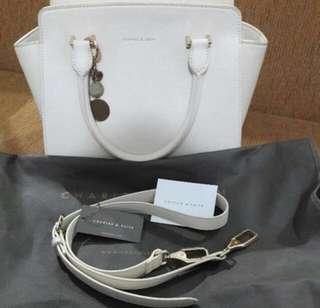 Charles and keith white handbag