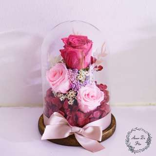 🚚 Pink themed preserved flower jar rose dome #caroupay