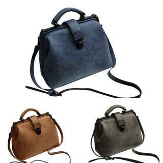 Nubuck Leather Matte Doctor Handbags Women Shoulder Bags [ PRE-ORDER ]