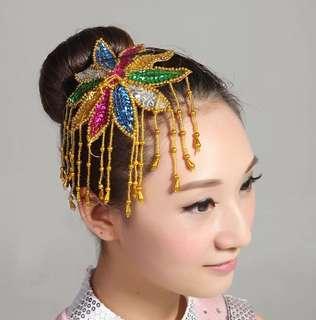 現代舞台頭花拉丁舞民族舞廣場舞秧歌服演出頭飾古典舞蹈頭飾飾品
