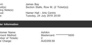 James Bay Concert Ticket Melbourne