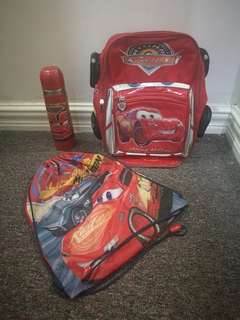 CARS BACK PACK, WATER BOTTLE AND SLING BAG