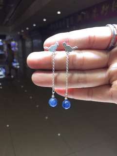 S925銀小袋鼠耳環 配天然藍晶石耳墜