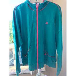 Adidas hoodie w zipper, blue/green, size L