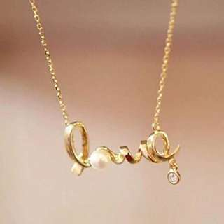 LOVE/HEART NECKLACE W/PEARL DIAMOND P100 ONLY