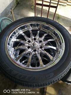 Boss chrome mags with Goodyear tyres