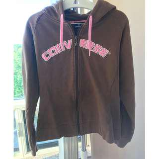 Converse brown hoodie w front zipper size XL