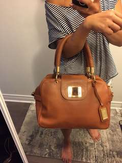 Badgley Mischka brown leather bag- excellent condition!