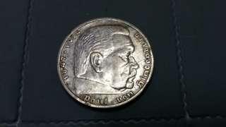 💥💥 5 Reichsmark Paul Von Heidenburg Deutschland 1935 Silver Coin.