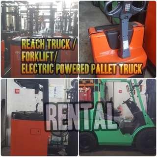 Rental - Reach Truck / Forklift / Stacker / Pallet Truck
