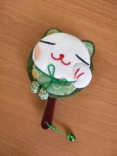 🚚 【泡泡療癒小物】古典翡翠綠招財貓隨身鏡