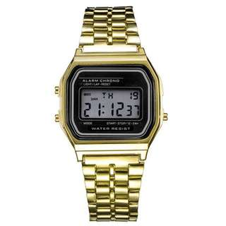 1x Fashion Retro Unisex Stainless Steel LED Digital Led Wrist Watch Gift Gold