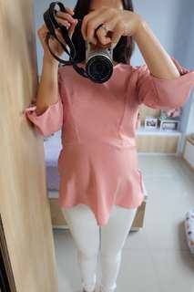 Pink Peplum Blouse - New
