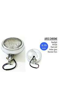 Motorbike/ Caferacer Headlight/ Lamp Ares Chrome