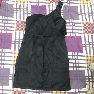 One shoulder mini dress black