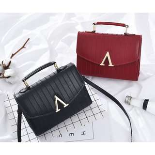 Pu Leather Handbag Sling Cute Small Bag V Crossbody [READY STOCK]