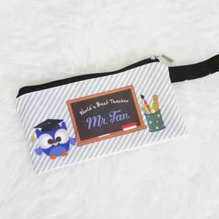 Personalised Teacher's Day Gift - Canvas Pencil Case with Name