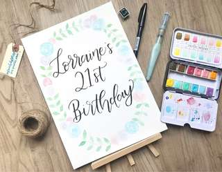 Floral wreath calligraphy birthday card