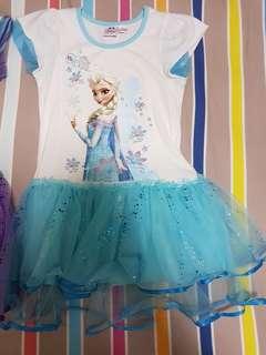 Disney Elsa glittery net frock 6~7y