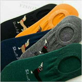 Dog Design Korean Fashion Men's Socks Lowcut