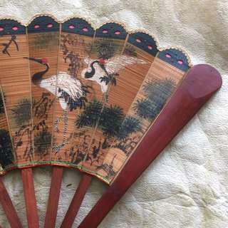"16.5"" Vintage hand painted cranes on bamboo fan display"