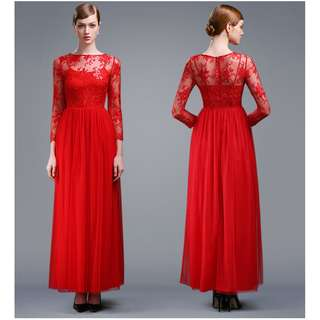 Pre order Muslimah red sequin long sleeve wedding bridal prom bridesmaid maxi dress