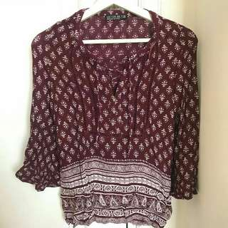 Cotton on shirt maroon
