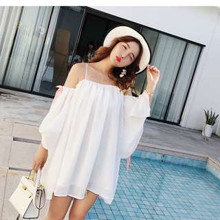 Dress Collection - Sweet Summer T-Off Shoulder Beach Style Romantic Short Dress