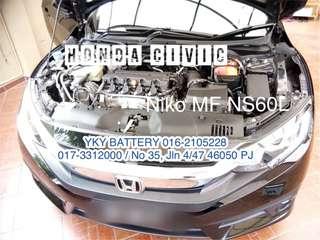 Kereta Bateri , Honda Civic , Niko MF NS60L