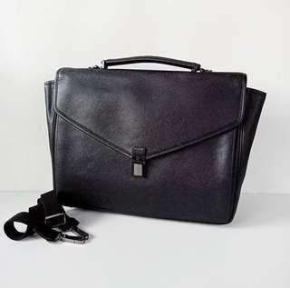 Aigner Briefcase Saffiano Black Size 39x30x9cm