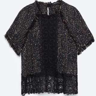 ZARA Tweed Lace top