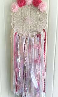 Wall Hanging, vintage doilie, feathers, medallions