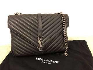 二手有單 💯%正品購自英國YSL  Saint Laurent COLLÈGE BAG IN BLACK LEATHER手袋